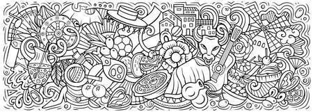 Spain hand drawn cartoon doodles illustration