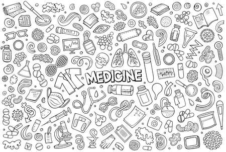 Line art vector hand drawn doodle cartoon set of medicine theme items, objects and symbols