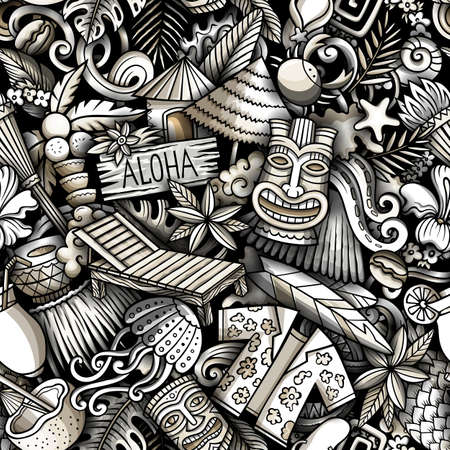 Cartoon doodles Hawaii seamless pattern. Backdrop with Hawaiian culture symbols and items. Monochrome detailed, with lots of objects background for print on fabric, textile, phone cases, wrapping paper. Иллюстрация