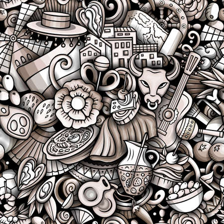 Cartoon doodles Spain seamless pattern. Backdrop with Spanish culture symbols and items. Monochrome detailed, with lots of objects background for print on fabric, textile, phone cases, wrapping paper.