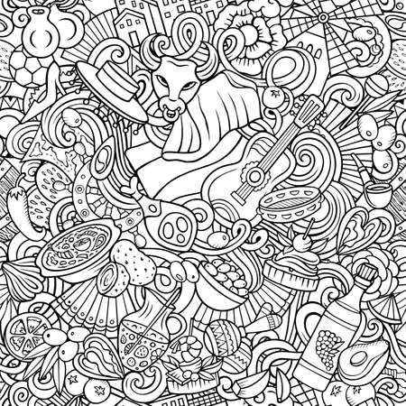 Cartoon doodles Spain seamless pattern. Backdrop with Spanish culture symbols and items. Sketchy detailed, with lots of objects background Иллюстрация
