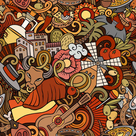 Cartoon doodles Spain seamless pattern. Backdrop with Spanish culture symbols and items. Colorful detailed, with lots of objects background for print on fabric, textile, phone cases, wrapping paper.