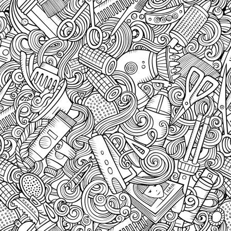 Hair Salon hand drawn doodles seamless pattern. Hairstyle background. Cartoon hairdressing coloring page design. Sketchy vector barbershop illustration