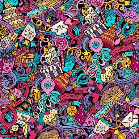 Happy Birthday hand drawn doodles seamless pattern. Holiday background. Cartoon cheerful fabric print design. Colorful vector festive illustration