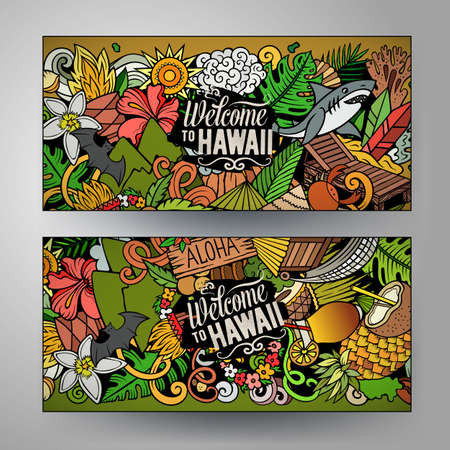 Cartoon cute colorful vector doodles Hawaii corporate identity. 2 horizontal banners design. Templates set Иллюстрация