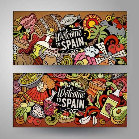 Cartoon cute colorful vector doodles Spain corporate identity. 2 horizontal banners design. Templates set