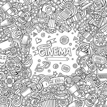 Cartoon cute doodles hand drawn cinema frame design. Sketchy detailed, with lots of objects background. Funny vector illustration. Line art border with movie theme items