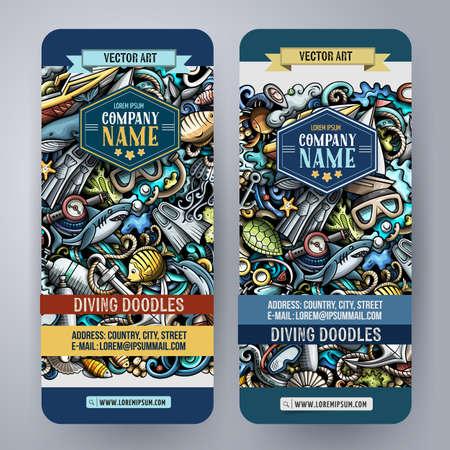 Cartoon cute colorful vector doodles Diving corporate identity. 2 vertical banners design. Templates set Ilustración de vector