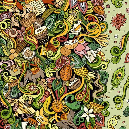 India hand drawn vector doodles illustration. Indian frame card design.