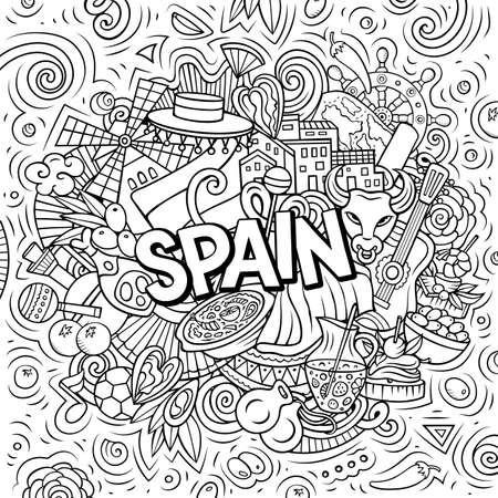 Spain hand drawn cartoon doodle illustration. Funny Spanish design