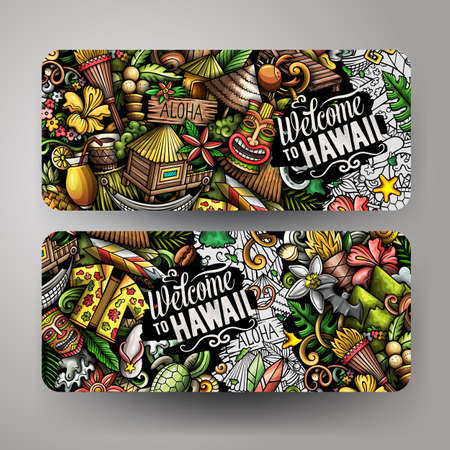 Cartoon cute doodles Hawaii horizontal banners set
