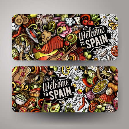 Cartoon cute doodles Spain horizontal banners set Иллюстрация