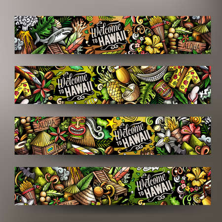 Cartoon vector doodle set of Hawaii banners templates. Corporate identity for the use on apps, branding, flyers, web design. Funny colorful illustration.