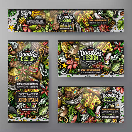 Cartoon vector doodle set of Hawaii corporate identity templates. Colorful funny banners, id cards, flayer for the use on branding, invitations, cards, apps, web design.