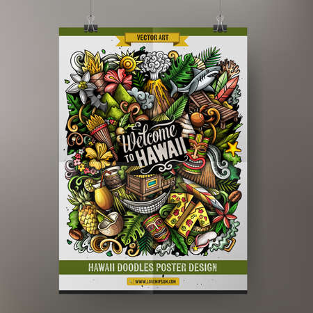 Cartoon vector doodle Hawaii poster template. Corporate identity for the use on invitations, placards, cards, presentations. Funny colorful design Иллюстрация
