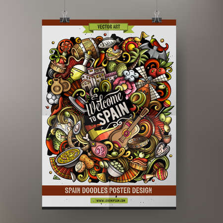 Cartoon vector doodle Spain poster template. Corporate identity for the use on invitations, placards, cards, presentations. Funny colorful design