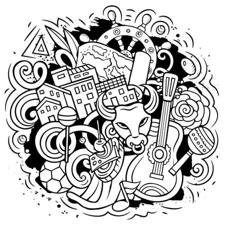 Spain hand drawn cartoon doodle illustration. Funny Spanish elements and objects design. Creative art vector background Иллюстрация