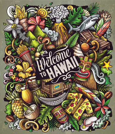 Hawaii cartoon vector doodles illustration. Hawaian poster design. Tropical elements and objects background. Bright colors funny picture. All items are separated
