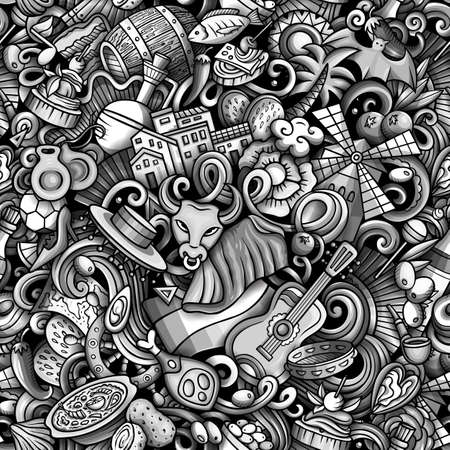 Cartoon doodles Spain seamless pattern. Backdrop with Spanish culture symbols and items. Monochrome detailed, with lots of objects background for print on fabric, textile, phone cases, wrapping paper. Иллюстрация