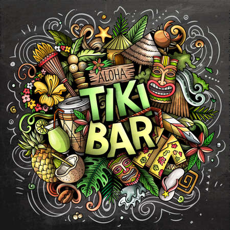 Tiki Bar hand drawn cartoon doodle illustration. Funny Hawaiian design. Creative art vector background. Handwritten text with elements and objects. Chalkboard composition