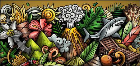 Hawaii hand drawn doodle banner. Cartoon vector detailed flyer.