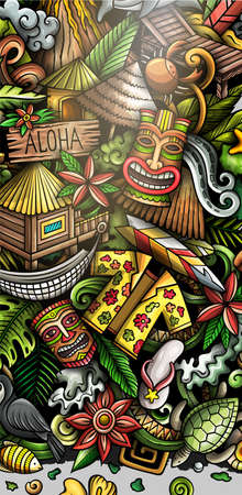 Hawaii hand drawn doodle banner. Cartoon vector detailed flyer. Illustration with Hawaiian objects and symbols. Colorful vertical background Иллюстрация