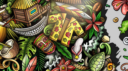 Hawaii hand drawn doodle banner. Cartoon vector detailed flyer. Illustration with Hawaiian objects and symbols. Colorful horizontal background Иллюстрация
