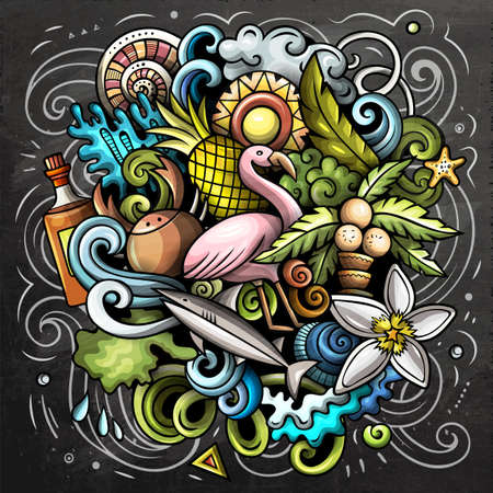 Bahamas cartoon vector doodle chalkboard illustration. Colorful detailed composition with lot of tropical objects and symbols.