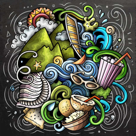 Mauritus cartoon vector doodle chalkboard illustration. Colorful detailed composition with lot of Exotic island objects and symbols. Иллюстрация