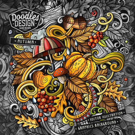 Doodles graphic grunge Autumn vector illustration. Creative background. Colorful fall card design