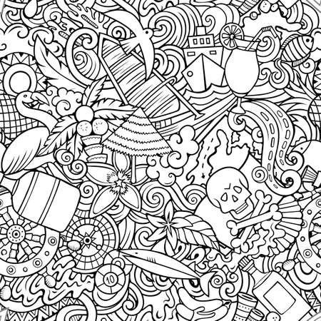 Cartoon doodles Bahamas seamless pattern. Backdrop with Bahamian culture symbols and items. Line art detailed, with lots of objects background for print on fabric, textile, greeting cards, scarves, wrapping paper. All objects separate. Иллюстрация