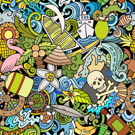 Cartoon doodles Bahamas seamless pattern. Backdrop with Bahamian culture symbols and items. Colorful detailed, with lots of objects background for print on fabric, textile, greeting cards, scarves, wrapping paper. All objects separate.
