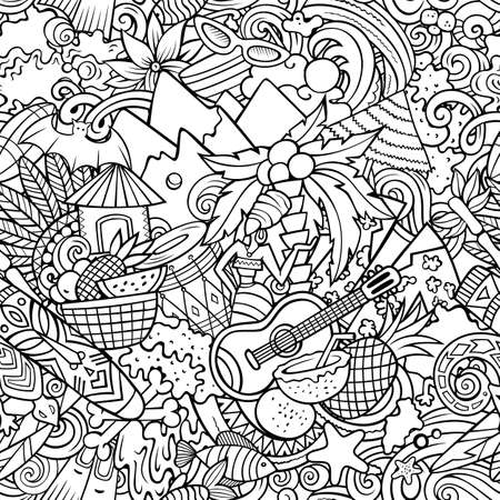 Cartoon doodles Figi seamless pattern. Sketchy detailed, with lots of objects background for print on fabric, textile, greeting cards, scarves, wrapping paper. All objects separate. Иллюстрация