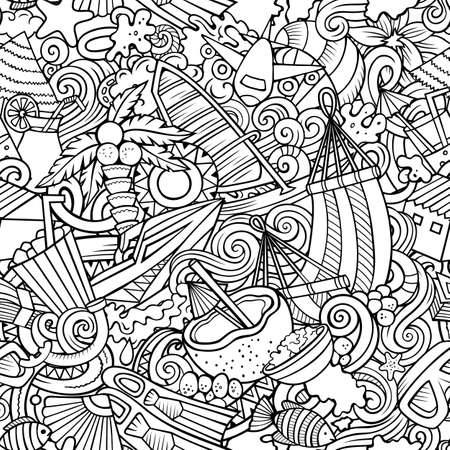 Cartoon doodles Maldives seamless pattern. Backdrop with Maldivian culture symbols and items. Sketchy detailed, with lots of objects background for print on fabric, textile, greeting cards, scarves, wrapping paper. All objects separate. Иллюстрация