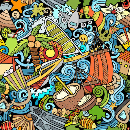 Cartoon doodles Maldives seamless pattern. Backdrop with Maldivian culture symbols and items. Colorful detailed, with lots of objects background for print on fabric, textile, greeting cards, scarves, wrapping paper. All objects separate.