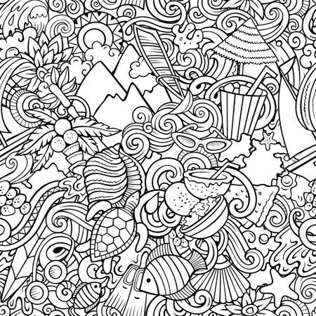 Cartoon doodles Mauritus seamless pattern. Backdrop with Mauritian culture symbols and items. Sketchy detailed, with lots of objects background for print on fabric, textile, greeting cards, scarves, wrapping paper. All objects separate. Иллюстрация