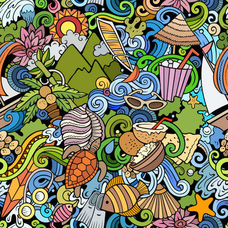 Cartoon doodles Mauritus seamless pattern. Backdrop with Mauritian culture symbols and items. Colorful detailed, with lots of objects background for print on fabric, textile, greeting cards, scarves, wrapping paper. All objects separate. Иллюстрация