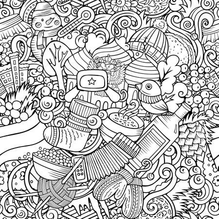 Cartoon doodles Russia seamless pattern. Backdrop with Russian culture symbols and items. Sketchy detailed, with lots of objects background for print on fabric, textile, greeting cards, scarves, wrapping paper. All objects separate.