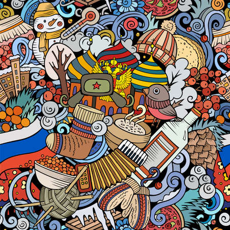 Cartoon doodles Russia seamless pattern. Backdrop with Russian culture symbols and items. Colorful detailed, with lots of objects background for print on fabric, textile, greeting cards, scarves, wrapping paper. All objects separate.