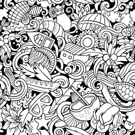 Cartoon doodles Seychelles seamless pattern. Sketchy detailed, with lots of objects background for print on fabric, textile, greeting cards, scarves, wrapping paper. All objects separate. Иллюстрация