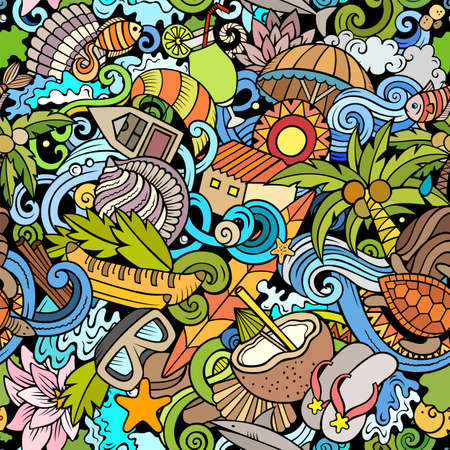 Cartoon doodles Seychelles seamless pattern. Colorful detailed, with lots of objects background for print on fabric, textile, greeting cards, scarves, wrapping paper. All objects separate. Иллюстрация