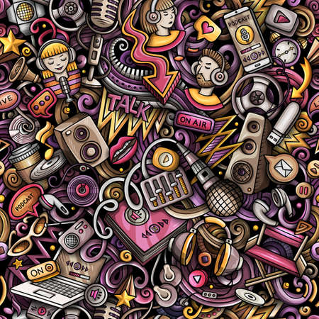 Cartoon doodles Audio content seamless pattern. Backdrop with podcasts and audiobooks symbols and items. Colorful background for print on fabric, textile, phone cases, wrapping paper.