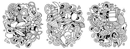 Bahamas cartoon vector doodle designs set. Line art detailed compositions with lot of tropical objects and symbols. Isolated on white illustrations