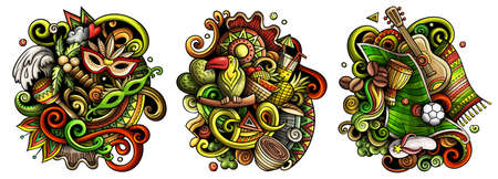 Brazil cartoon vector doodle designs set. Colorful detailed compositions with lot of Brazilian objects and symbols. Isolated on white illustrations