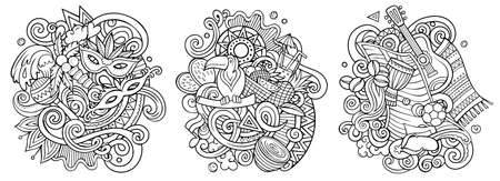 Brazil cartoon vector doodle designs set. Sketchy detailed compositions with lot of Brazilian objects and symbols. Isolated on white illustrations