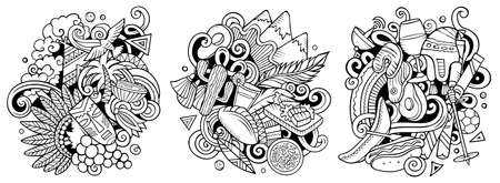 Chile cartoon vector doodle designs set. Sketchy detailed compositions with lot of Chilean objects and symbols. Isolated on white illustrations