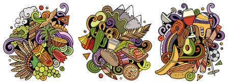 Chile cartoon vector doodle designs set. Colorful detailed compositions with lot of Chilean objects and symbols. Isolated on white illustrations