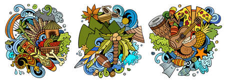 Figi cartoon vector doodle designs set. Colorful detailed compositions with lot of Exotic island objects and symbols. Isolated on white illustrations Иллюстрация