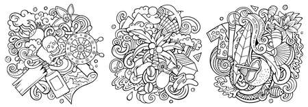Haiti cartoon vector doodle designs set. Sketchy detailed compositions with lot of Exotic islands objects and symbols. Isolated on white illustrations