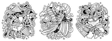Maldives cartoon vector doodle designs set. Sketchy detailed compositions with lot of Exotic island objects and symbols. Isolated on white illustrations